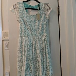White and turquoise lace dress